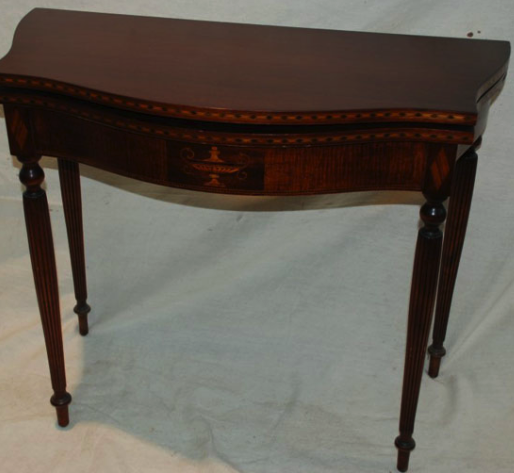 restored antique card table