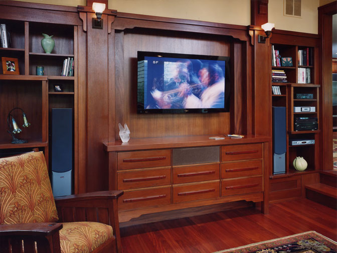 Green & Green detailed entertainment cabinet, finished with attention paid to historically correct specifications.