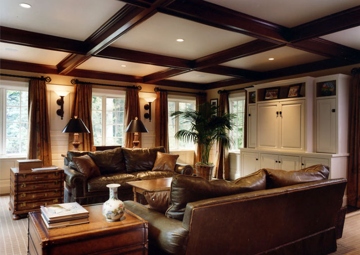 Coffered ceiling, finished in deep mahogany red-brown color.