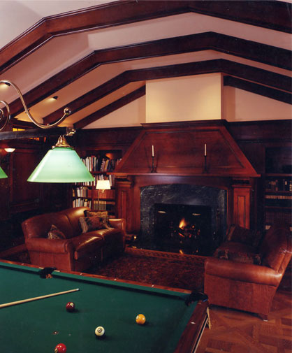 The maple woodwork and ceiling beams were finished in a rich cherry color and inviting satin sheen.