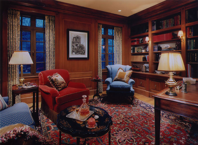 Newly installed mahogany study, with a hand rubbed tinted-wax finish.