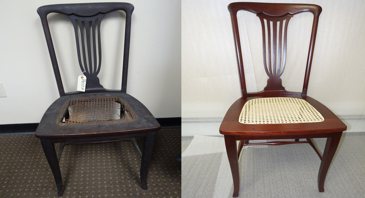 repaired and color matched chair