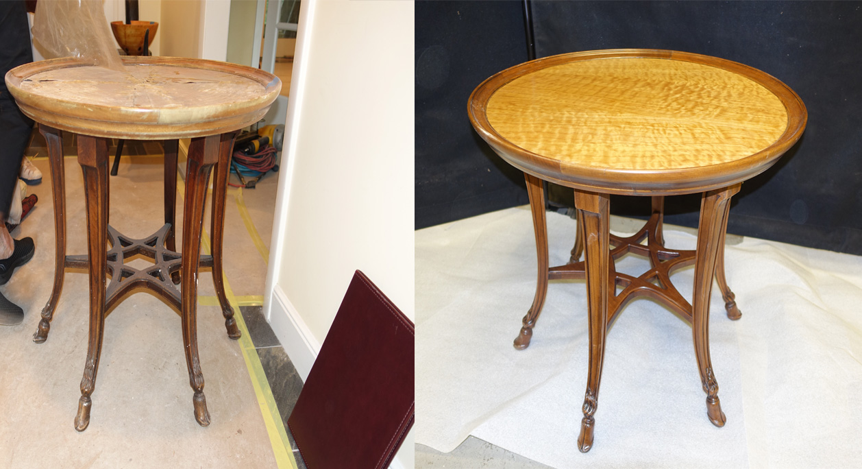 repaired and refinished wooden sidetable