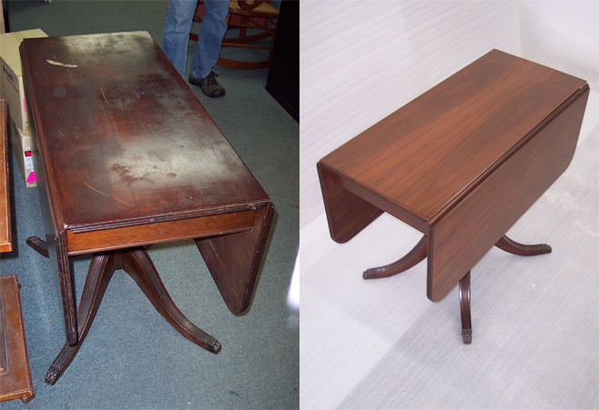 Before:  Mahogany drop leaf table, damaged by water and soot.  After: The table has been stripped, sanded, stained, finished, and is fully restored.  The finish we used is very durable and easy to care for.